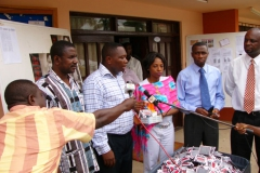 Kay at Ghana AIDS Commission Press Conference with donation