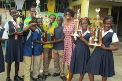 Kay with winning students atPetersfield School Westmoreland Jamaica