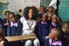Kay enjoyed her visit with the children at Mathare Slum Kenya